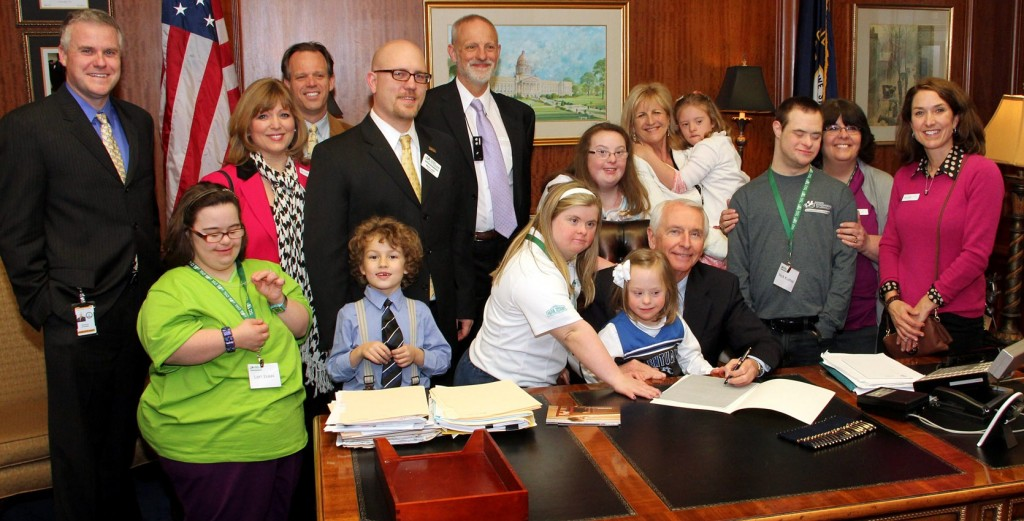 Governor Steve Beshear of Kentucky signs Senate Bill 34, the Down Syndrome Information Bill.