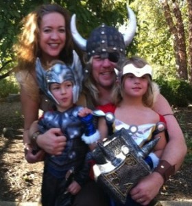 Halloween as the superhero Thor's family