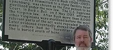 Prof Paul Lombardo with the historical marker re: Buck v. Bell